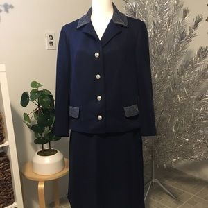 Vintage 60s Navy Skirt Suit